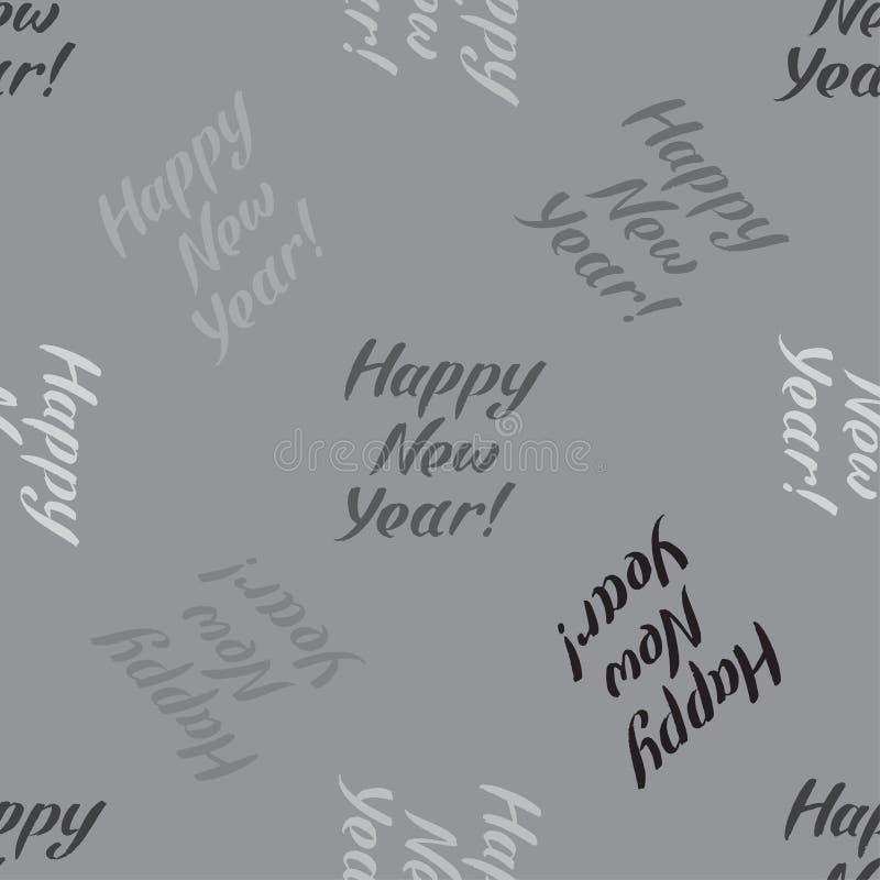 Het gelukkige naadloze patroon van de Nieuwjaarinschrijving Modieuze achtergrond in grijze kleuren voor de vakantieontwerp van de stock illustratie