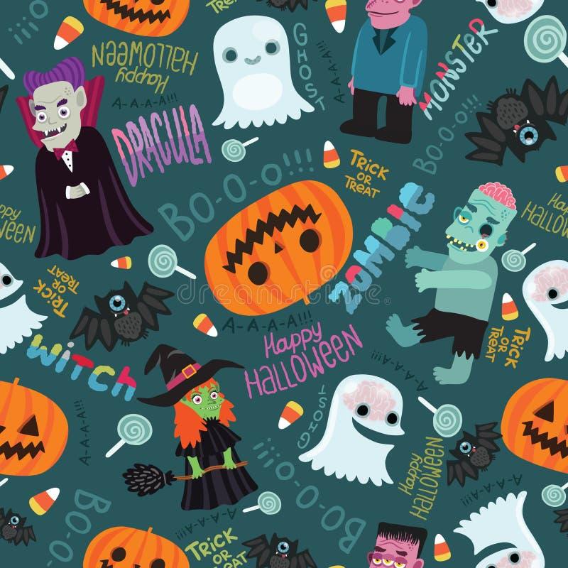 Het gelukkige naadloze patroon van Halloween. stock illustratie