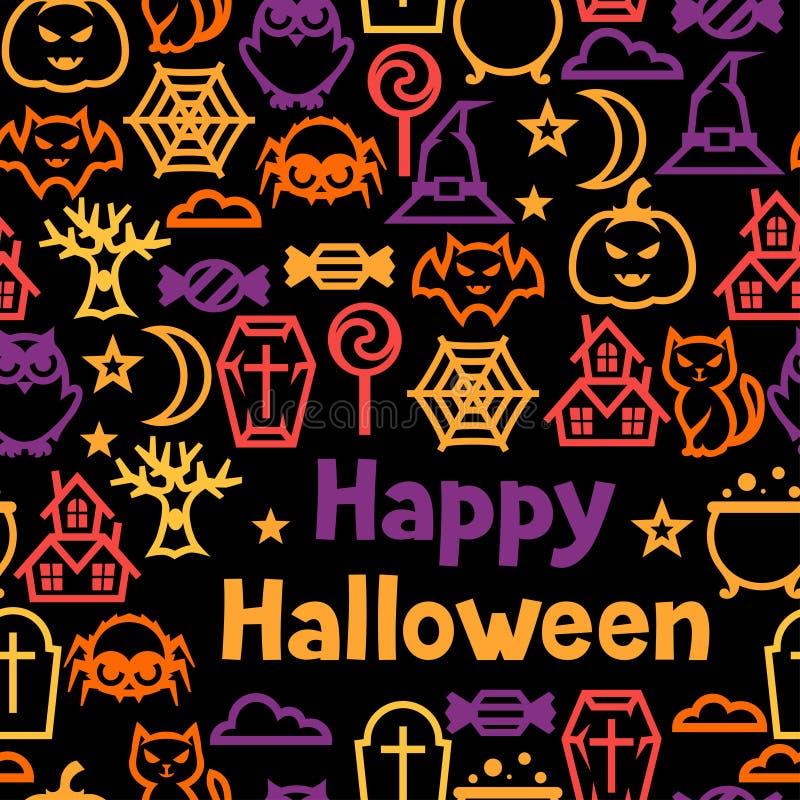 Het gelukkige naadloze patroon van Halloween met vlakke pictogrammen vector illustratie