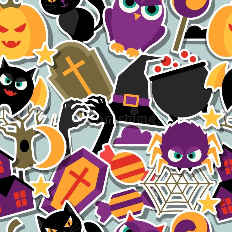 Het gelukkige naadloze patroon van Halloween met vlakke sticker stock illustratie