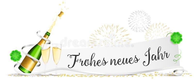 Het gelukkige nieuwe de Vooravonddocument van het jaarnieuwjaar ` s met champagneglazen, vuurwerk en klaver isoleerde vector royalty-vrije illustratie