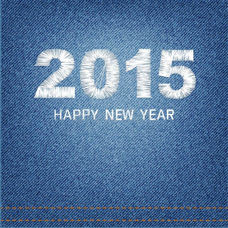 Het gelukkige nieuwe denim van het de kaartontwerp van de jaar 2015 creatieve groet stock illustratie
