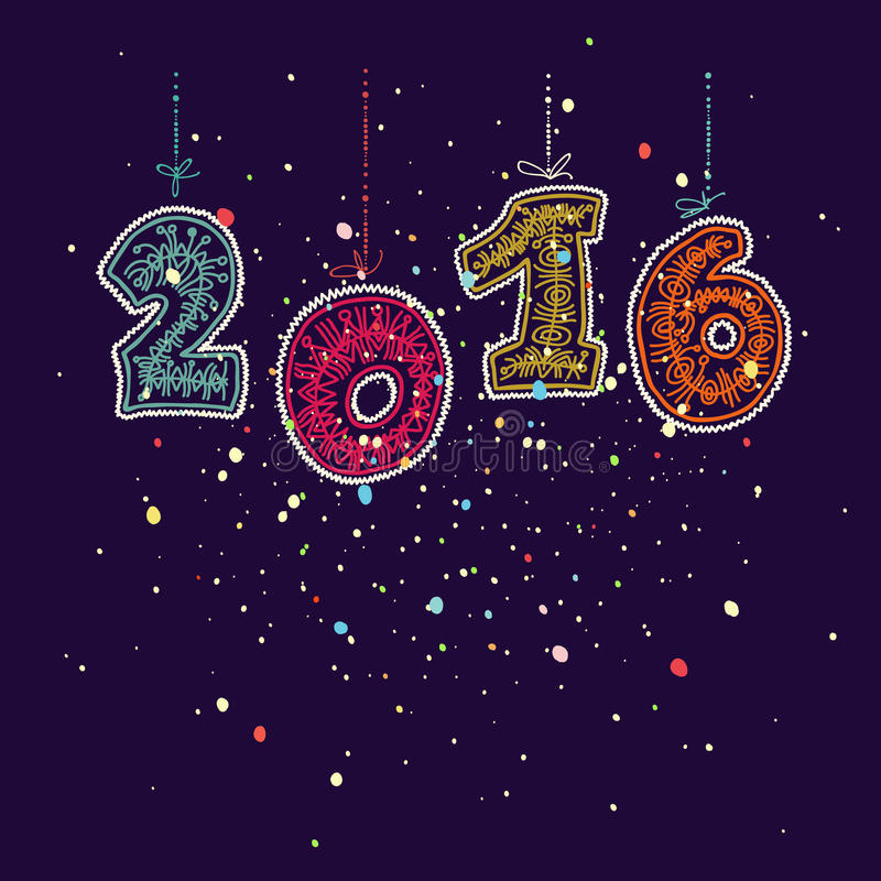 Het gelukkige nieuwe element van het de kaartontwerp van de jaar 2016 groet Decoratieve sierhand getrokken inschrijving stock illustratie