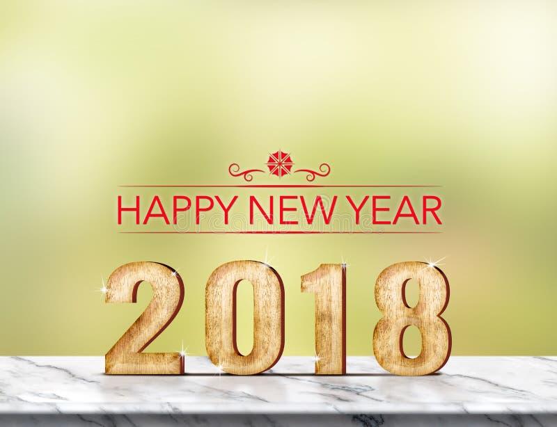 Het gelukkige nieuwe jaar 2018 3d teruggeven op marmeren lijst bij groene abst royalty-vrije stock fotografie