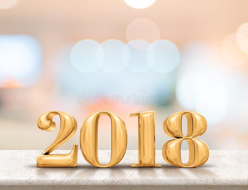 Het gelukkige nieuwe jaar 2018 3d teruggeven op marmeren lijstbovenkant met onduidelijk beeld vector illustratie