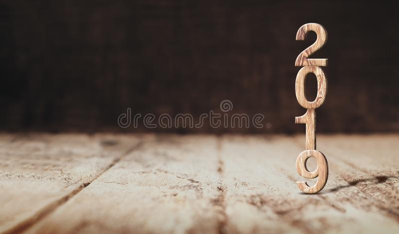 Het gelukkige nieuwe jaar 2019 houten 3d teruggeven in perspectief houten floo royalty-vrije stock afbeeldingen