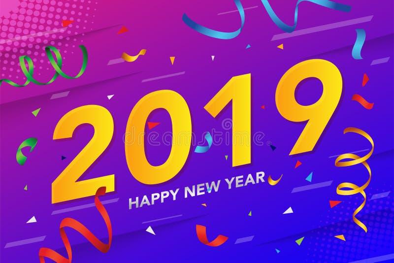 Het gelukkige Nieuwe jaar 2019 met schittert en conffeti op kleurrijke achtergrond Vector illustratie vector illustratie