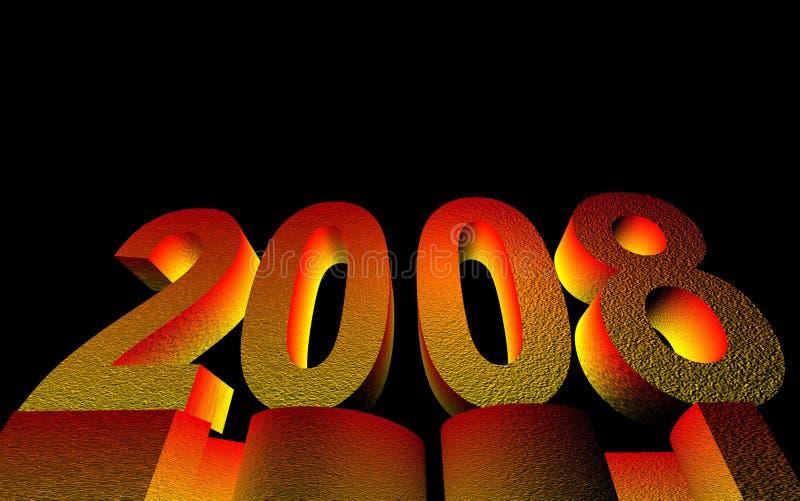 het gelukkige nieuwe jaar van 2008 stock illustratie