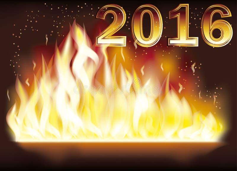 Het gelukkige Nieuwe jaar van de de brandvlam van 2016, vector vector illustratie
