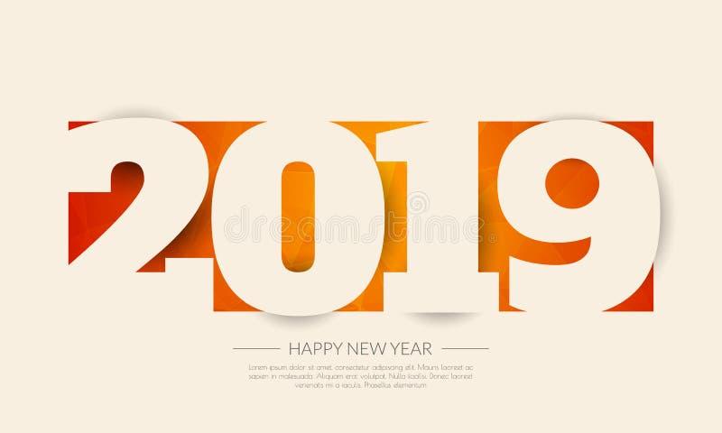 Het gelukkige nieuwe jaar van 2019 De kaart van groeten Kleurrijk ontwerp Zieke vector royalty-vrije illustratie