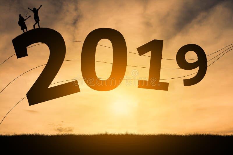 Het gelukkige nieuwe jaar 2019 van de muziekaantekening royalty-vrije stock foto