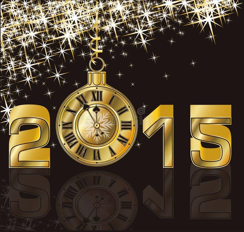 Het gelukkige Nieuwe Jaar van 2015 en gouden klok stock illustratie