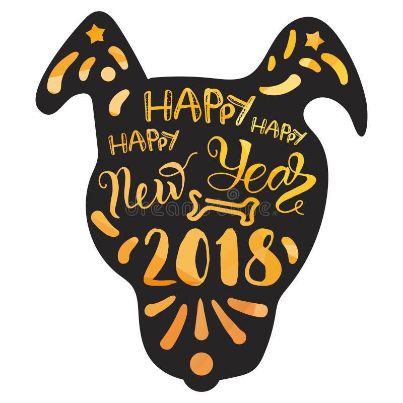 Het gelukkige Nieuwe het Jaar van 2018 van letters voorzien stock illustratie