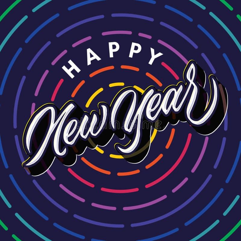 Het gelukkige nieuwe jaar het van letters voorzien ontwerp van de de groetaffiche van de typografieviering stock foto's