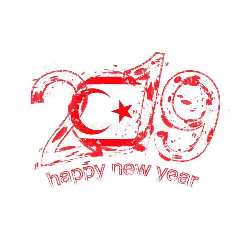 Het gelukkige Nieuwe Jaar van 2019 met vlag van Noordelijk Cyprus Vakantie grunge stock illustratie