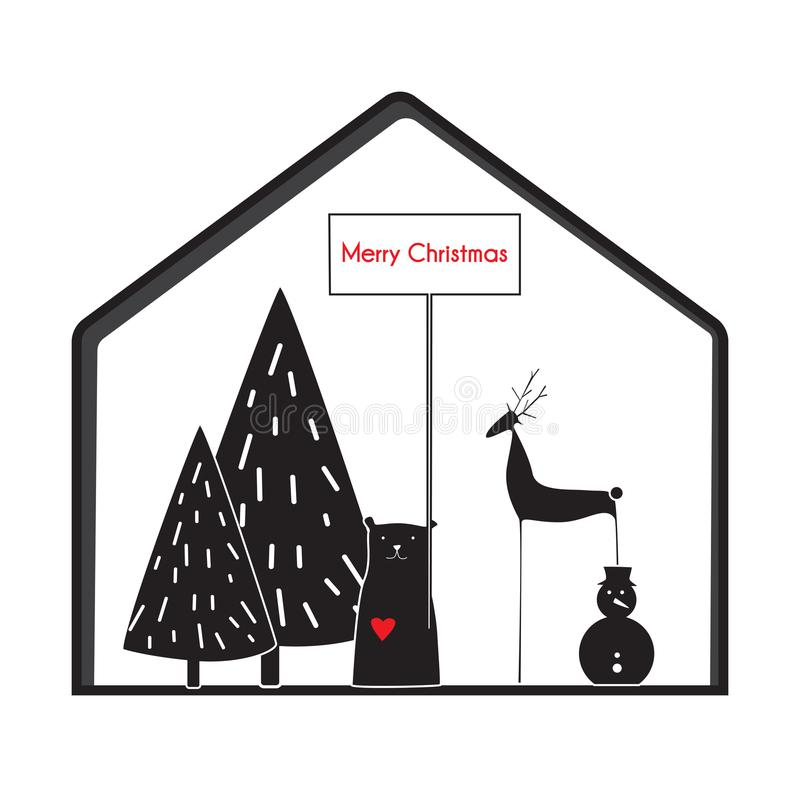 Het gelukkige nieuwe jaar zwarte witte citaat, Skandinavische stijlherten en draagt voor de kaarten van de ontwerpgroet, drukken, royalty-vrije illustratie