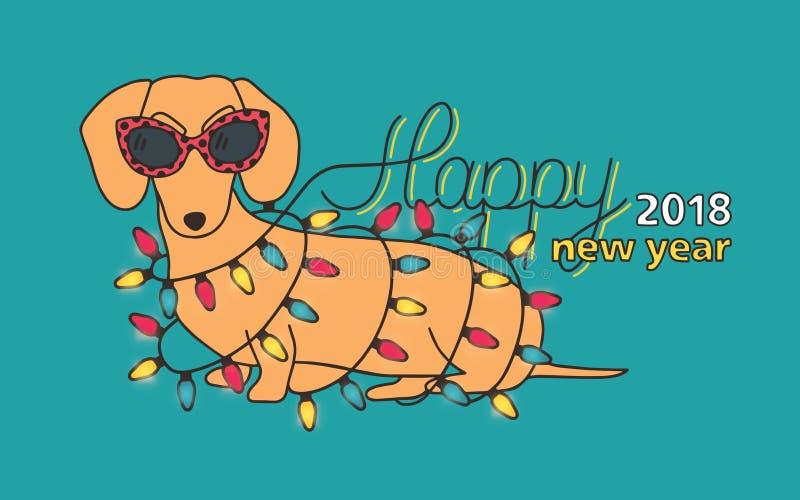 Het gelukkige nieuwe malplaatje van de het jaar feestelijke banner van 2018 met grappige tekkel die zonnebril dragen die en met l royalty-vrije illustratie