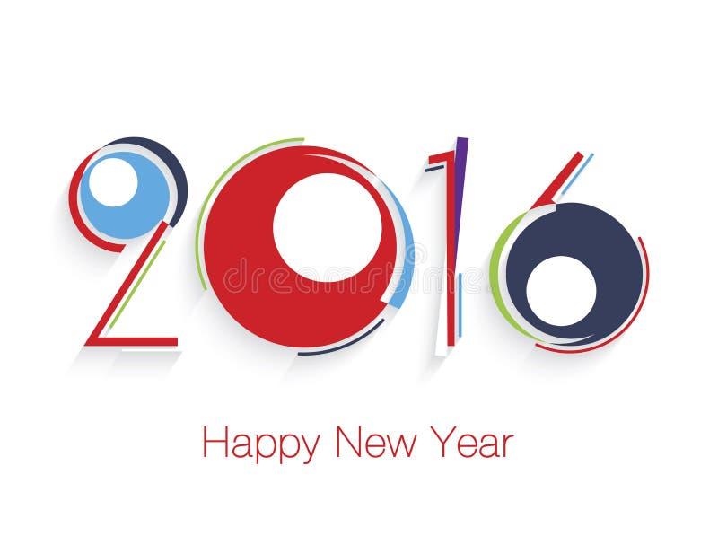 Het gelukkige nieuwe Ontwerp van de jaar 2016 Tekst stock illustratie