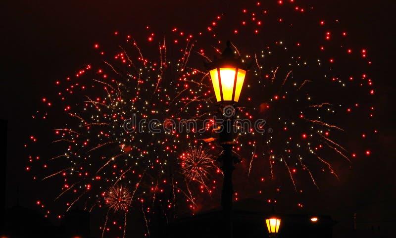 Het gelukkige nieuwe vuurwerk van de jaarvakantie stock foto