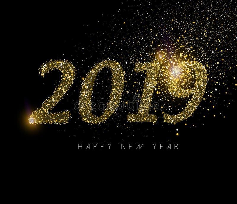 Het gelukkige Nieuwjaar 2019 goud schittert de kaart van de stofvakantie vector illustratie