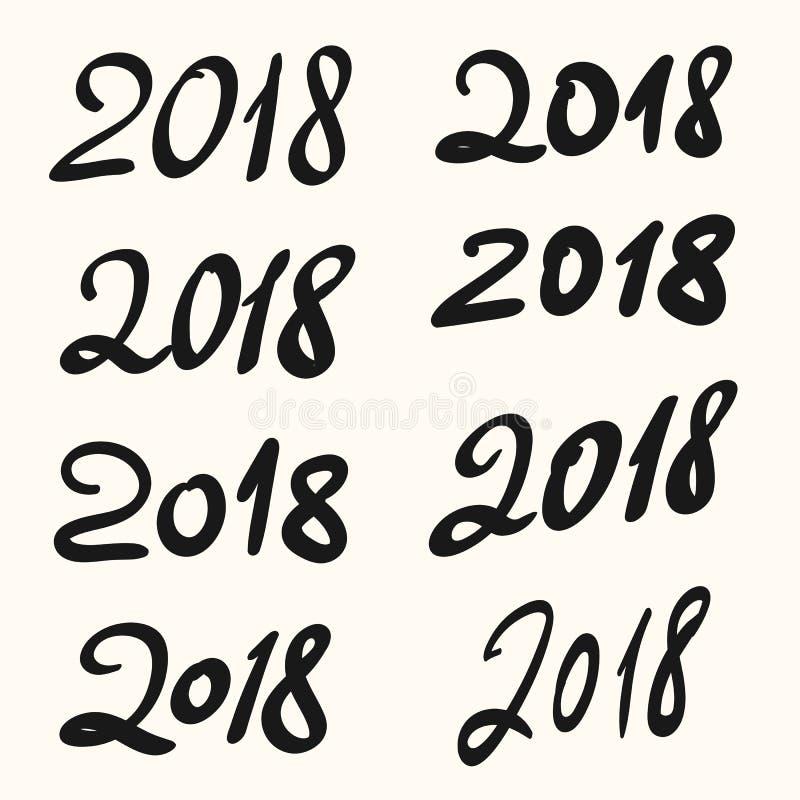 2018 het Gelukkige Nieuwjaar hand getrokken van letters voorzien Reeks met de hand geschreven manuscriptaantallen voor Chinees Ja stock illustratie