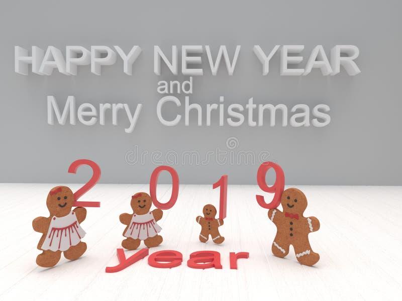 Het Gelukkige Nieuwjaar 2019 van de vakantiekaart met koekjes op een witte backgro royalty-vrije stock afbeelding