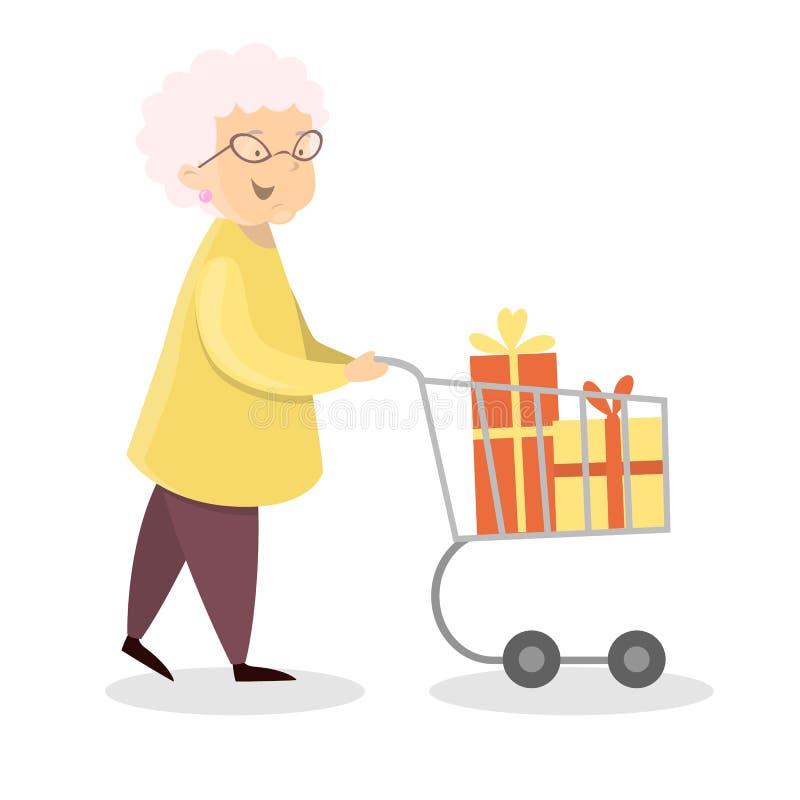 Het gelukkige oma winkelen royalty-vrije illustratie