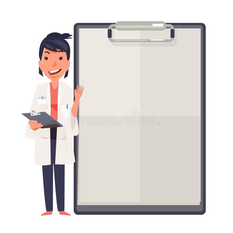 Het gelukkige ontwerp die van het artsenkarakter leeg klembordteken tonen stock illustratie