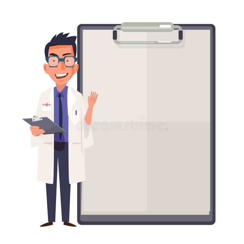 Het gelukkige ontwerp die van het artsenkarakter leeg klembordteken voor p tonen vector illustratie