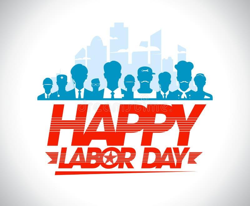 Het gelukkige ontwerp van de arbeidsdag met arbeiders royalty-vrije illustratie
