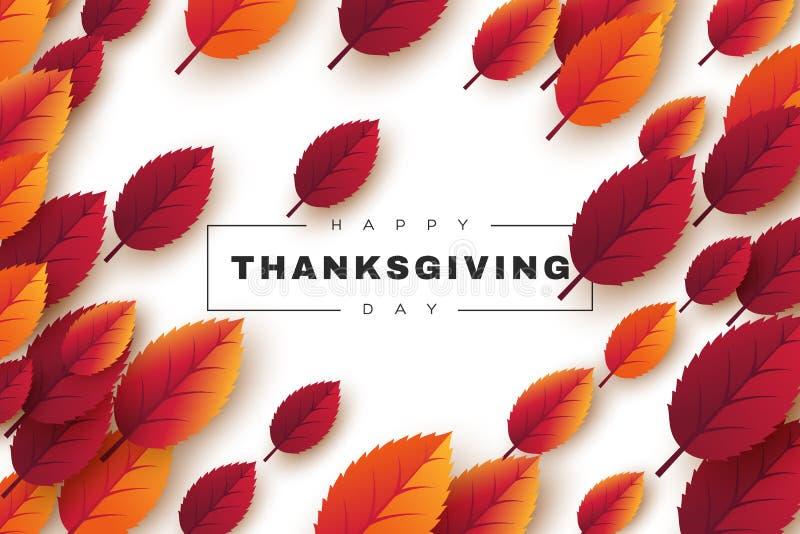 Het gelukkige ontwerp van de Dankzeggingsvakantie met heldere de herfstbladeren en groetteksten witte achtergrond, vectorillustra vector illustratie