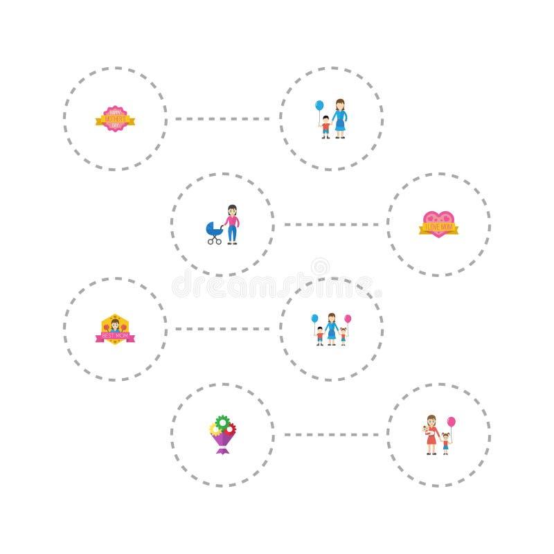 Het gelukkige Ontwerp van de het Pictogramlay-out van de Moeder` s Dag Vlakke met Vrouw, Beste Moeder ooit en Bloemsymbolen Mooi  vector illustratie