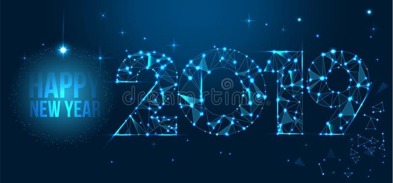 Het gelukkige ontwerp van de Nieuwjaar 2019 banner De geometrische veelhoekige kaart van de 2019 Nieuwjaargroet Vector vuurwerkac stock illustratie