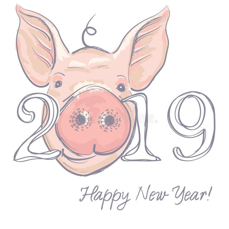 Het gelukkige ontwerp van de Nieuwjaar 2019 grappige kaart met het gezicht van beeldverhaalvarkens Vector illustratie royalty-vrije illustratie