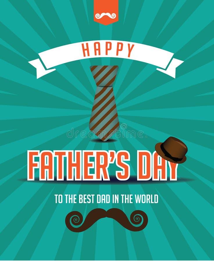 Het gelukkige ontwerp van de snorfedora van de Vadersdag vector illustratie