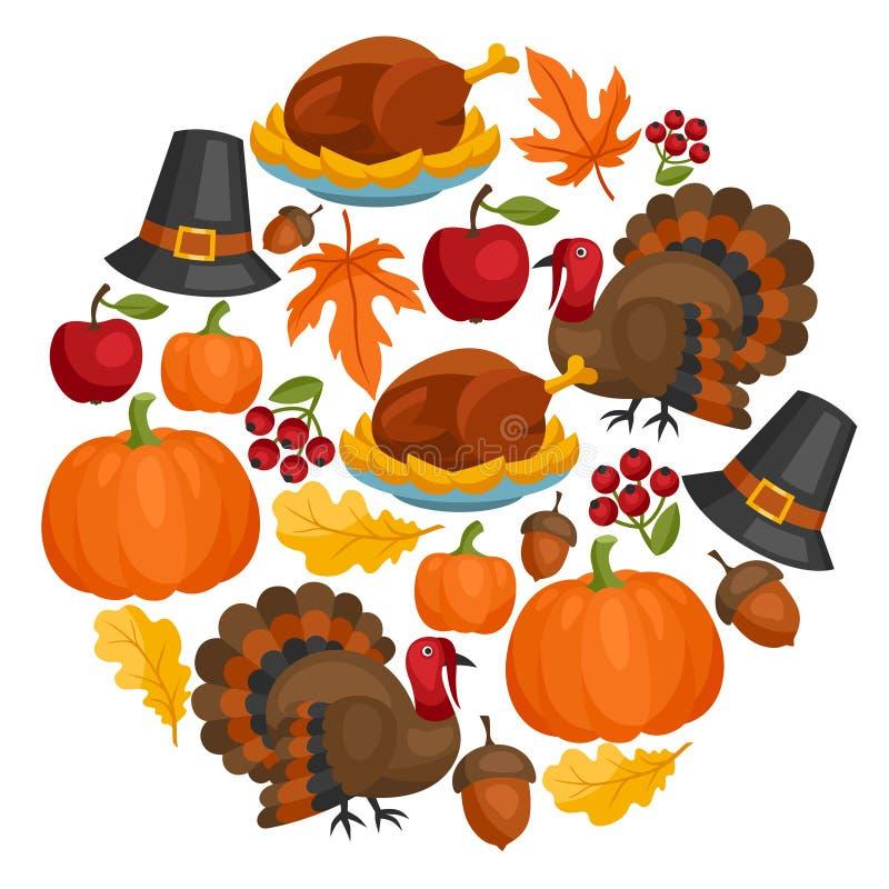Het gelukkige ontwerp van de Thanksgiving daykaart met vakantie vector illustratie