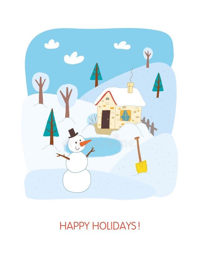 Het gelukkige ontwerp van de vakantiekaart Het landschap van de winter stock illustratie