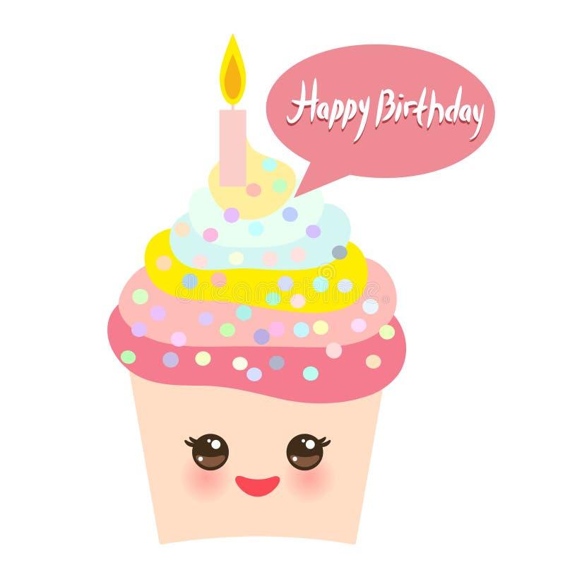 Het gelukkige ontwerp van de Verjaardagskaart met smakelijke verjaardag cupcake met de grappige snuit van kaarskawaii met roze wa vector illustratie