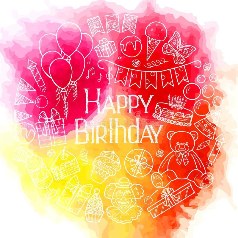 Het gelukkige ontwerp van de verjaardagskaart op waterverfachtergrond stock illustratie