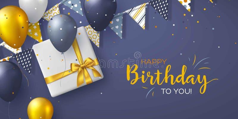 Het gelukkige ontwerp van de Verjaardagsvakantie voor groetkaarten royalty-vrije illustratie
