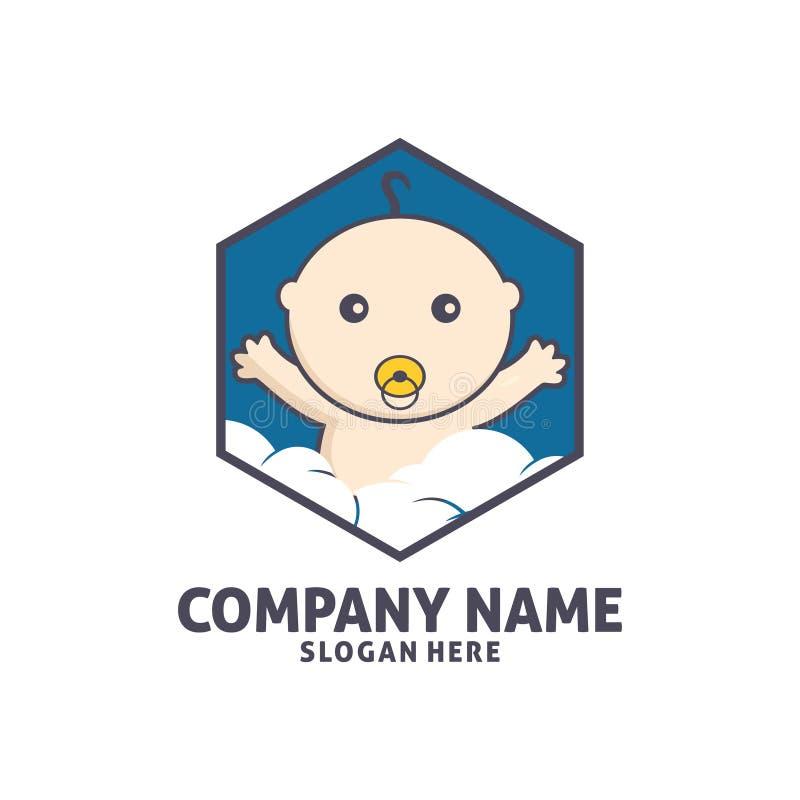 het gelukkige ontwerp van het het pictogramembleem van de babywinkel vector royalty-vrije illustratie