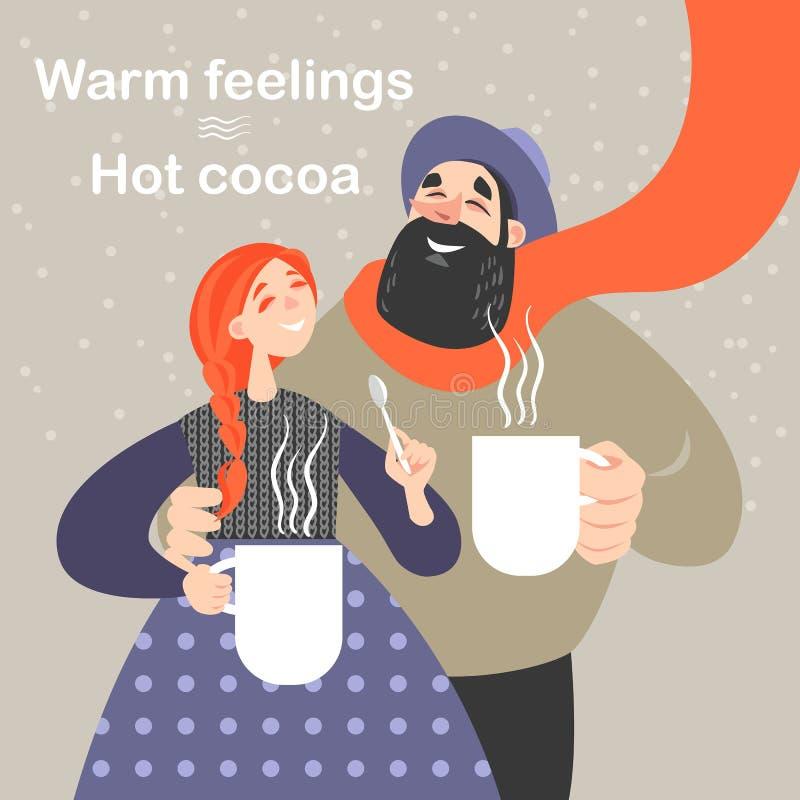 Het gelukkige paar drinkt hete cacao van grote witte mokken stock illustratie