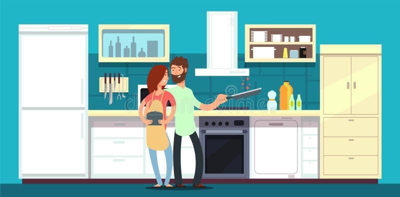 Het gelukkige paar koken in keuken vectorillustratie vector illustratie