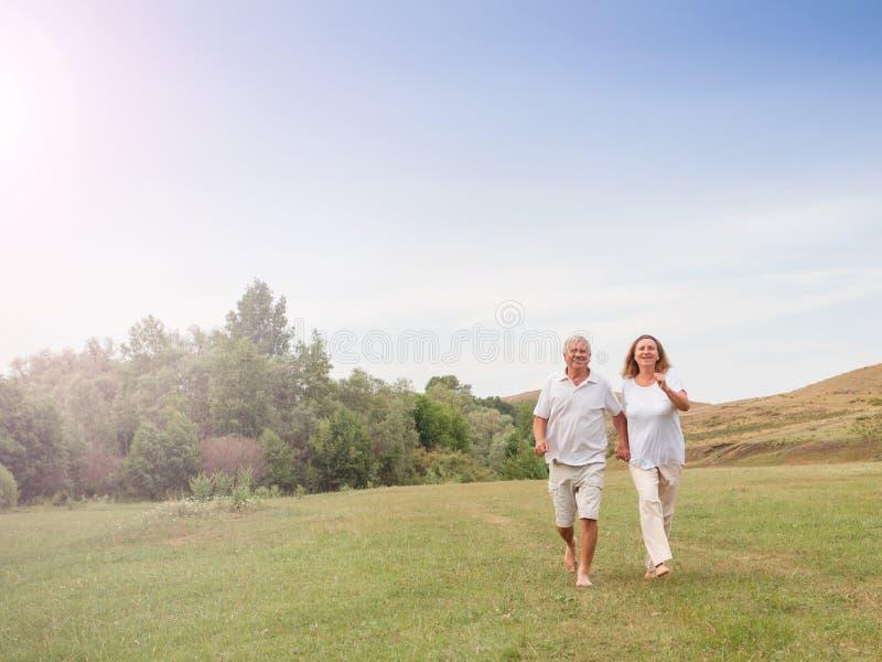 Het gelukkige paar lopen stock foto