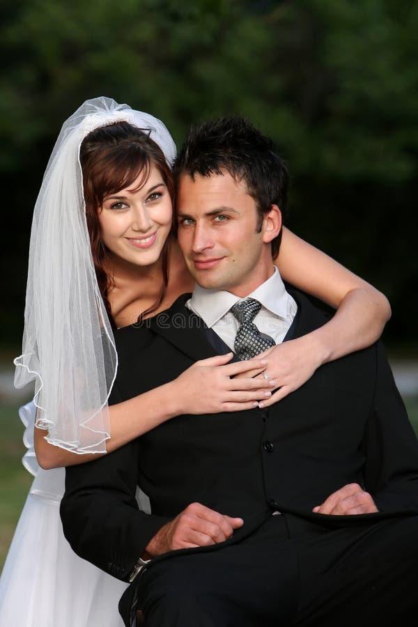 Het gelukkige Paar van het Huwelijk stock foto