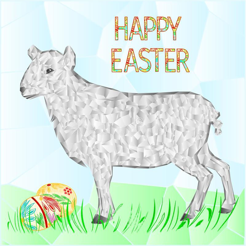 Het gelukkige paasei van Pasen met lam en grasveelhoeken vectorillustratie voor gebruik in binnenlands ontwerp stock illustratie