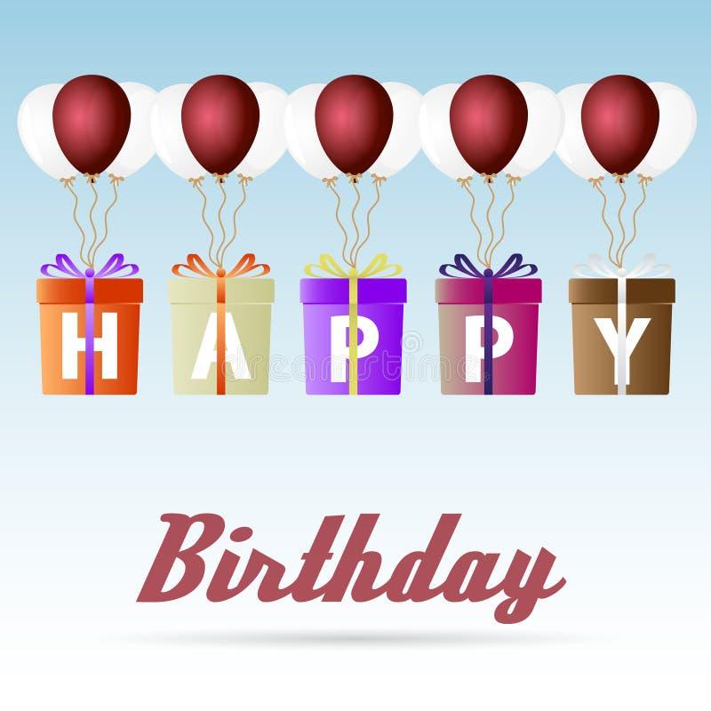 Het gelukkige pakket die van de verjaardagsgift met de pictogrammen van heliumballons geplaatst eps10 stijgen vector illustratie
