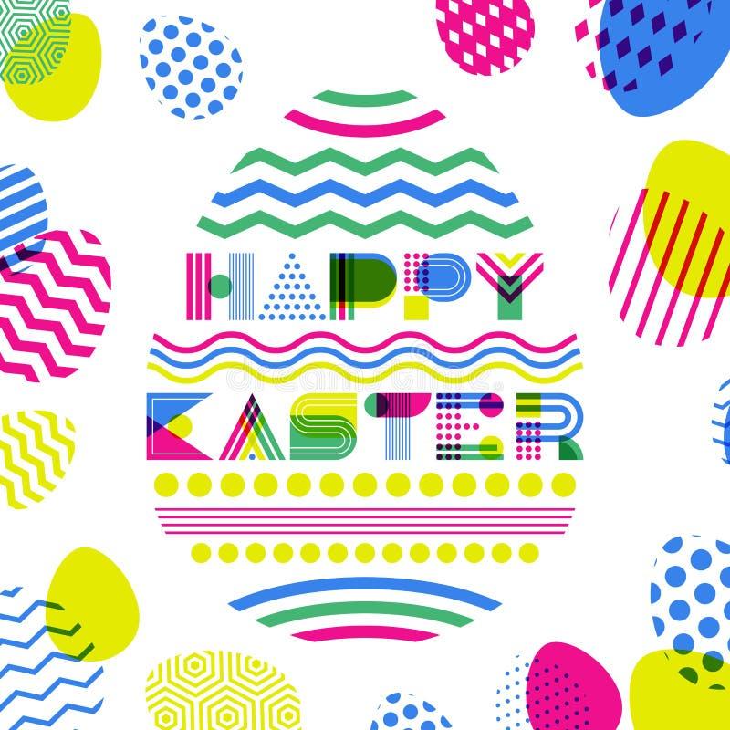 Het gelukkige Pasen-groetkaart, banner of malplaatje van het afficheontwerp Het geometrische van letters voorzien in eivorm vector illustratie