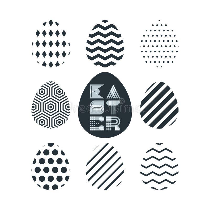 Het gelukkige Pasen-groetkaart, banner of malplaatje van het afficheontwerp Het geometrische van letters voorzien, zwart-witte pa vector illustratie