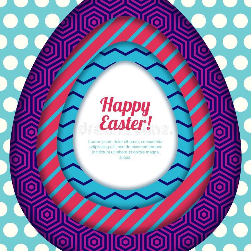 Het gelukkige Pasen-groetkaart, banner of malplaatje van het afficheontwerp Kleurrijk document met geometrische texturenachtergro vector illustratie